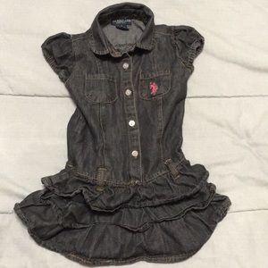 Adorable toddler girls ruffled denim dress